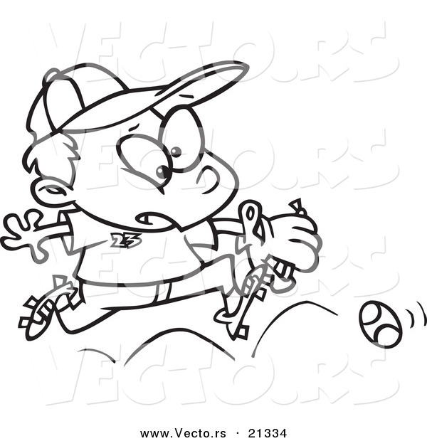 Vector of a Cartoon Boy Chasing a Baseball - Outlined Coloring Page