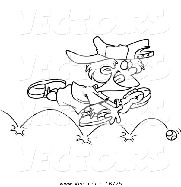 Vector of a Cartoon Boy Chasing a Bouncing Baseball - Outlined Coloring Page Drawing