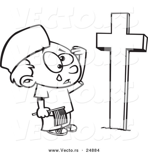 Vector of a Cartoon Boy Crying at a Soldiers Grave on Memorial Day - Outlined Coloring Page
