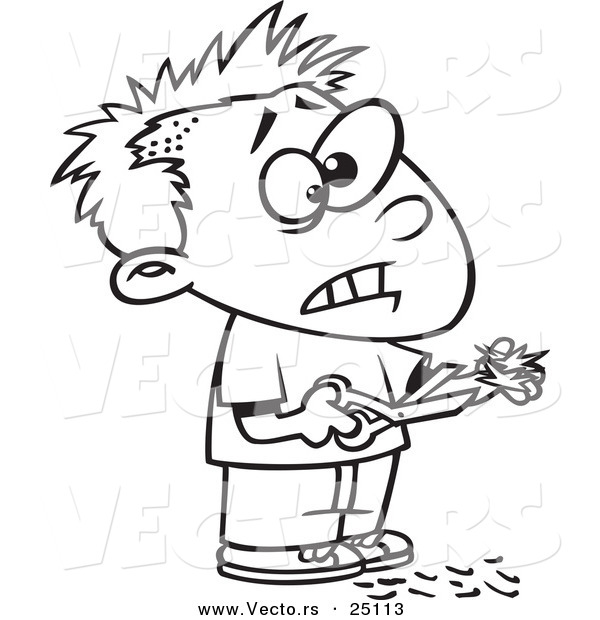 Vector of a Cartoon Boy Cutting His Own Hair - Coloring Page Outline
