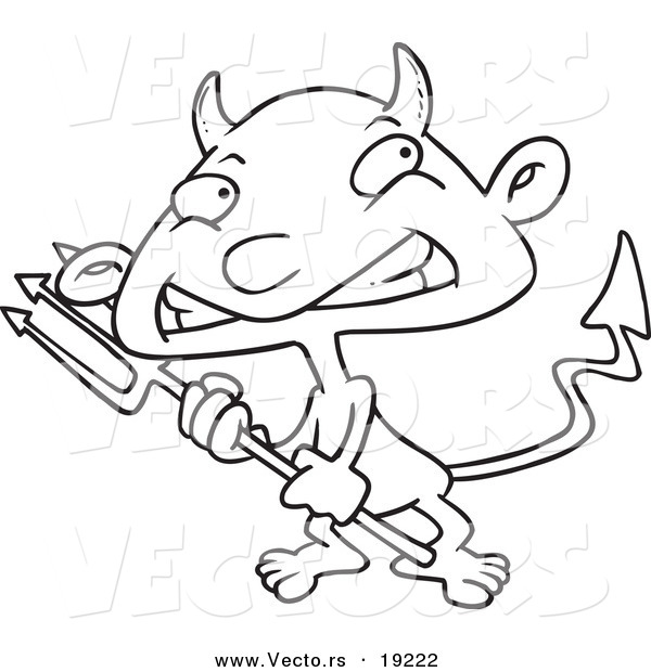 Vector of a Cartoon Boy Devil - Outlined Coloring Page