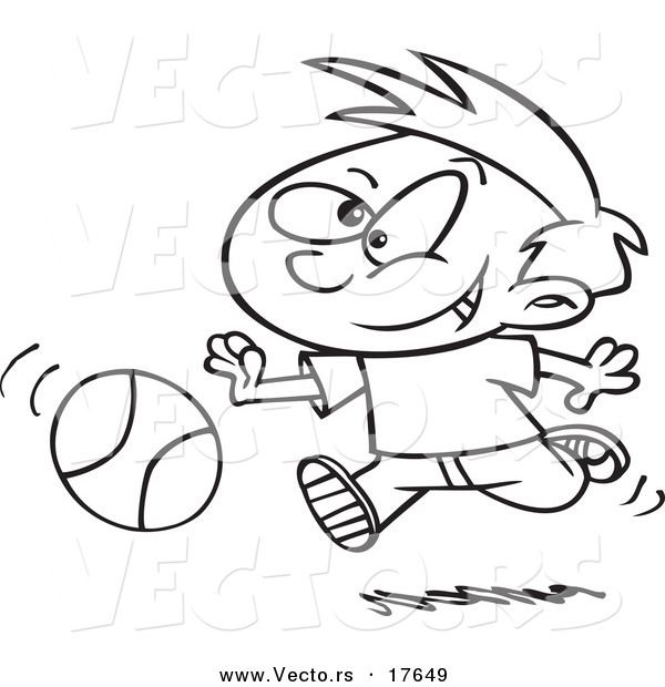 Vector of a Cartoon Boy Dribbling a Basketball - Coloring Page Outline