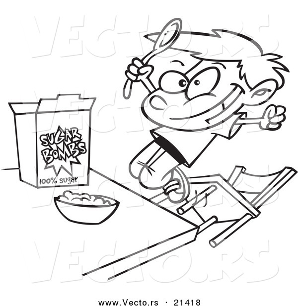 Vector of a Cartoon Boy Eating Sugary Cereal - Outlined Coloring Page
