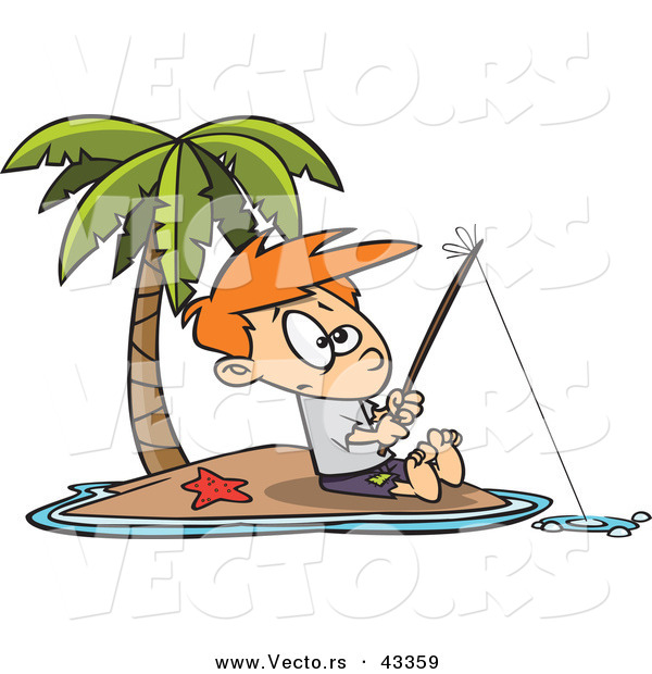 : Vector of a Cartoon Boy Fishing by Himself on a Lonely Tropical Island