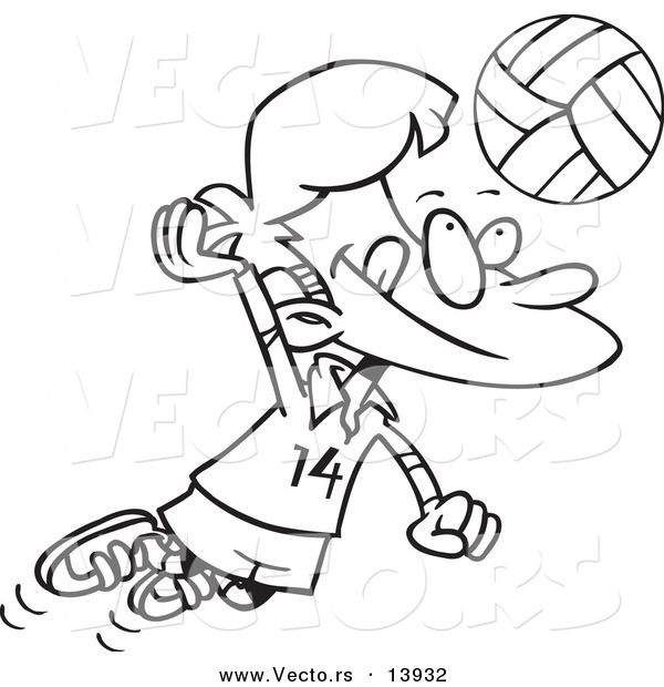 Vector of a Cartoon Boy Hitting a Volleyball - Coloring Page Outline