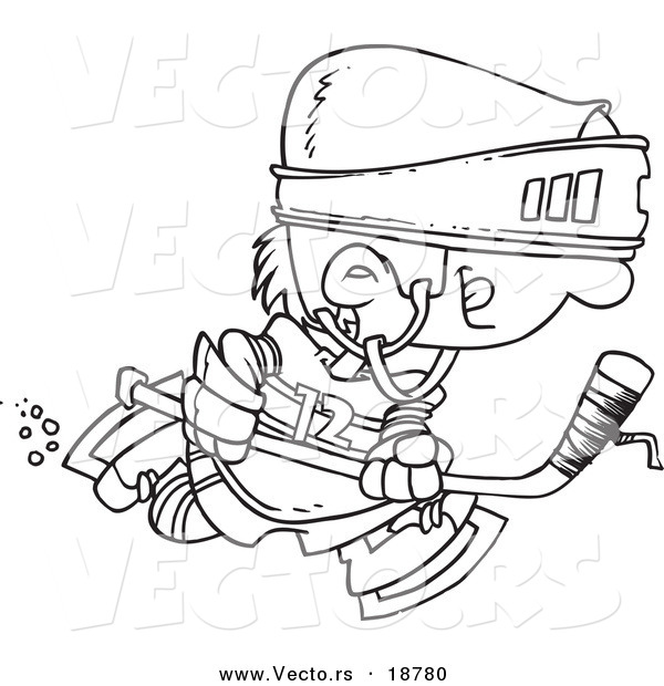 Vector of a Cartoon Boy Hockey Player - Outlined Coloring Page