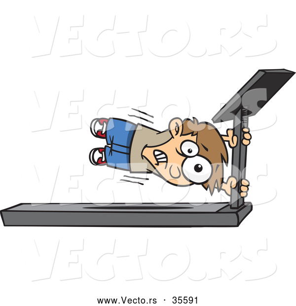 Vector of a Cartoon Boy Holding Tight to the Main Bar of a Fast Treadmill