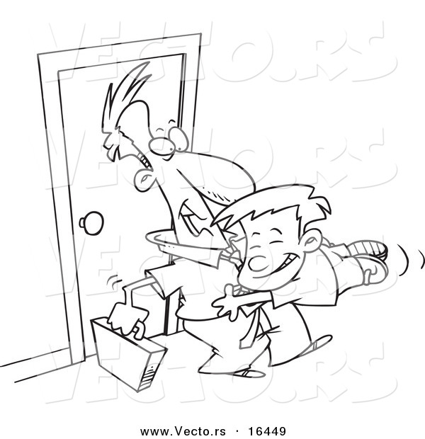 Vector of a Cartoon Boy Jumping on His Dad when He Arrives Home - Outlined Coloring Page Drawing