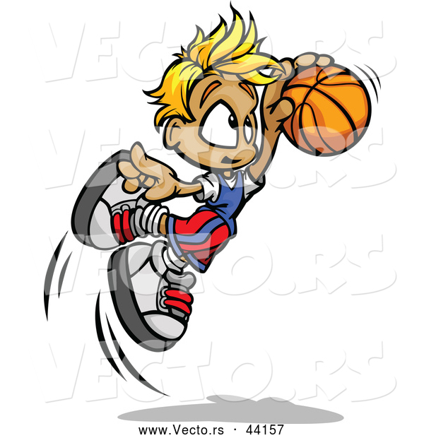 Vector of a Cartoon Boy Jumping with Basketball Towards Hoop