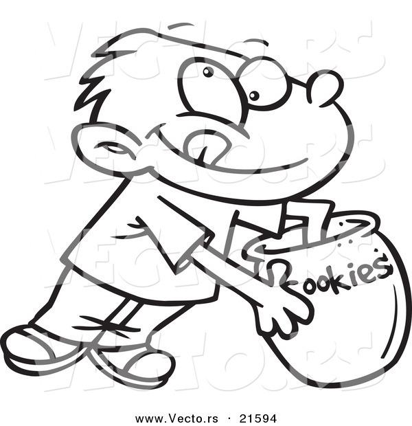 Line Drawing Jar : Vector of a cartoon boy reaching in cookie jar
