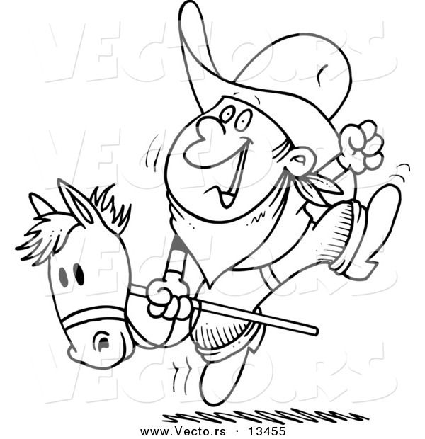 Vector of a Cartoon Boy Riding a Stick Pony - Coloring Page Outline