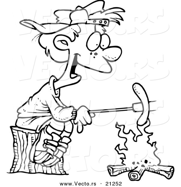 Vector of a Cartoon Boy Roasting a Weenie over a Campfire - Coloring Page Outline