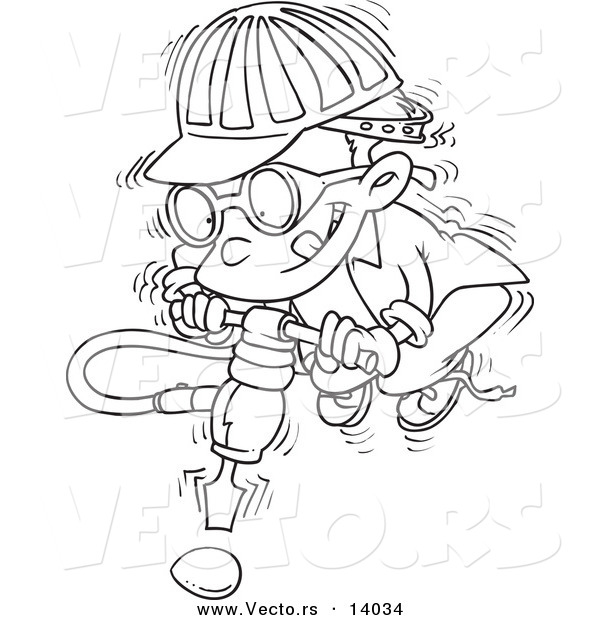 Vector of a Cartoon Boy Trying to Use a Jackahmmer on an Umbreakable Egg - Coloring Page Outline
