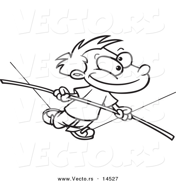 Vector of a Cartoon Boy Walking on a Tight Rope - Coloring Page Outline