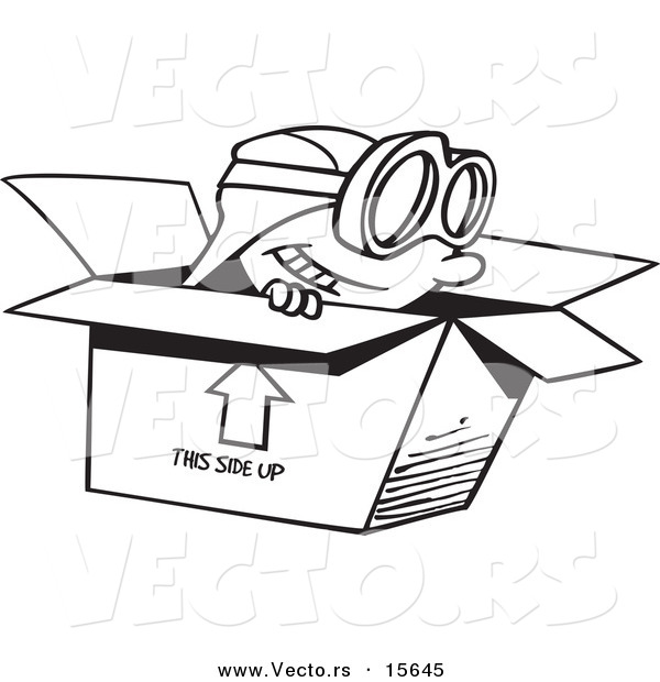 Vector of a Cartoon Boy Wearing Goggles and Pretending to Fly in a Box - Coloring Page Outline