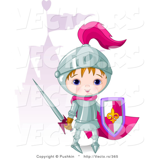 Vector of a Cartoon Boy Wearing Metal Knight Gear Beside a Castle