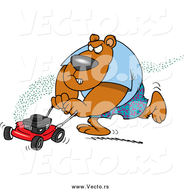 Vector of a Cartoon Brown Bear Mowing His Lawn