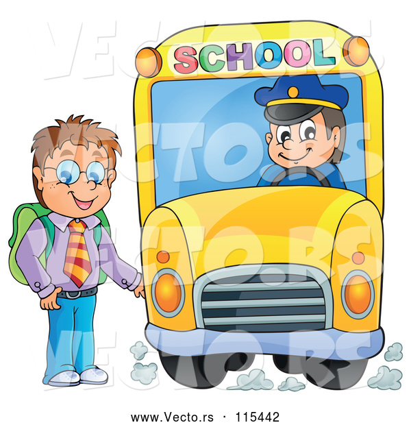 Vector of a Cartoon Brunette White Boy Boarding a School Bus