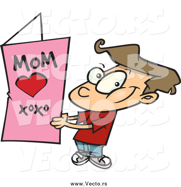 Vector of a Cartoon Brunette White Boy Holding a Mothers Day Card