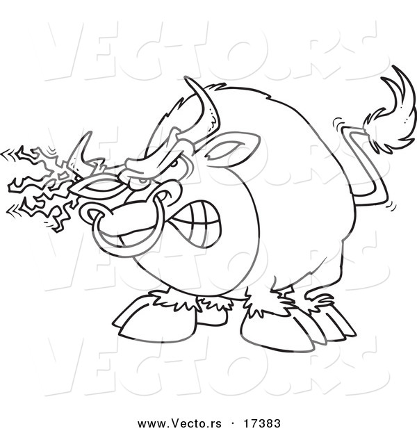 : Vector of a Cartoon Bull with Torn Fabric on His Horn - Coloring Page Outline