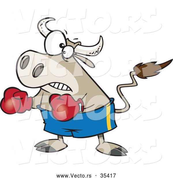 Vector of a Cartoon Bullfighter Bull Boxer Wearing Boxing Gloves