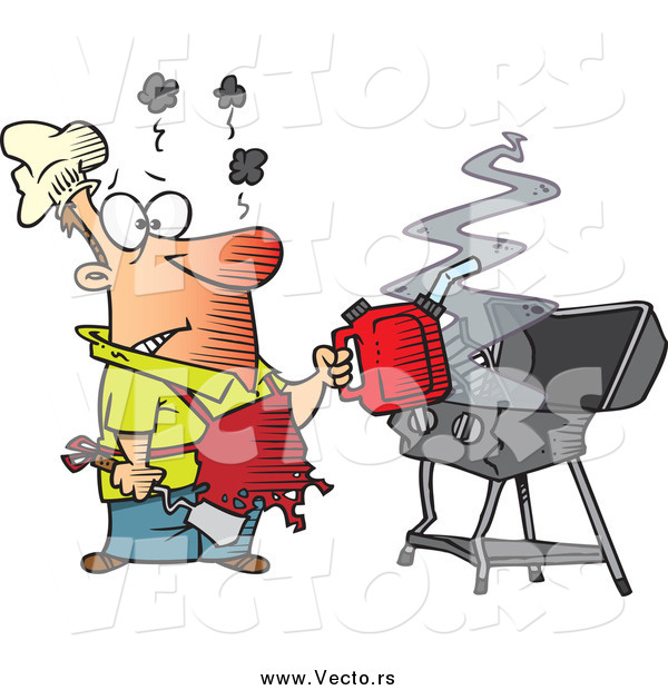 Vector of a Cartoon Burnt Man Using a Gas Can to Ignite His Bbq