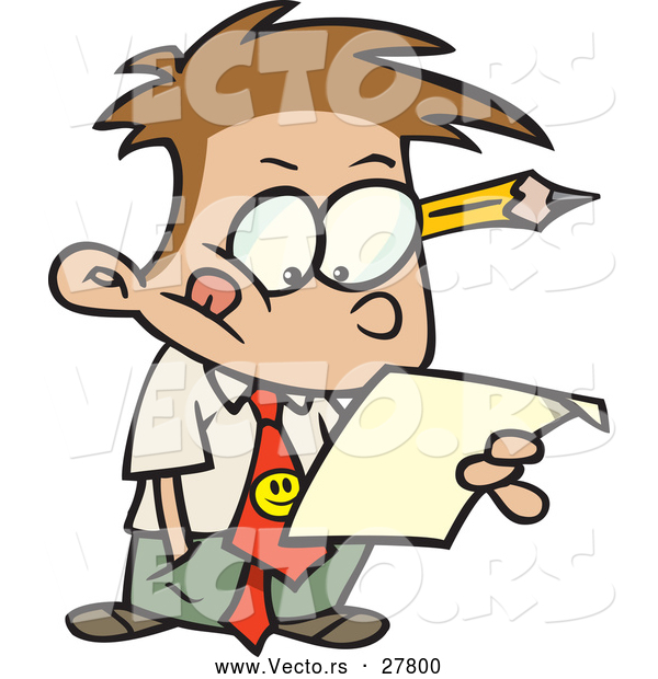 Vector of a Cartoon Business Boy Reading a Document