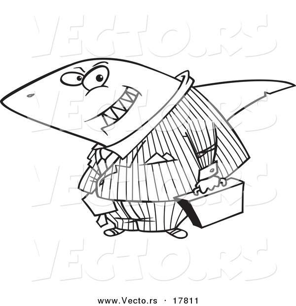 Vector of a Cartoon Business Land Shark - Outlined Coloring Page