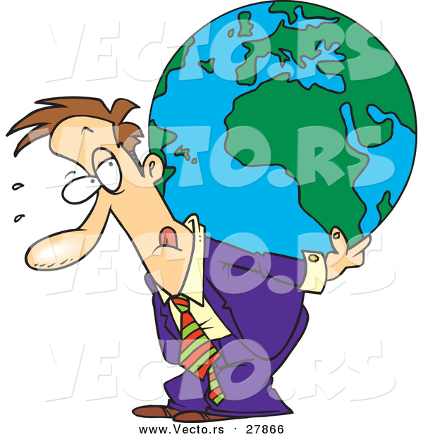 Vector of a Cartoon Business Man Carrying a Burden Globe on His Back