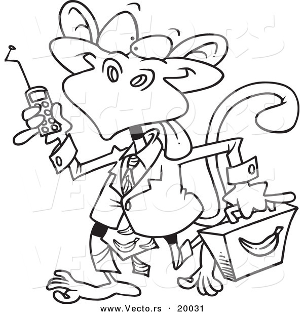 Vector of a Cartoon Business Monkey - Outlined Coloring Page