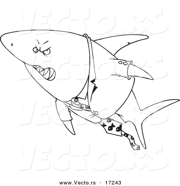 Vector of a Cartoon Business Shark in a Suit - Coloring Page Outline