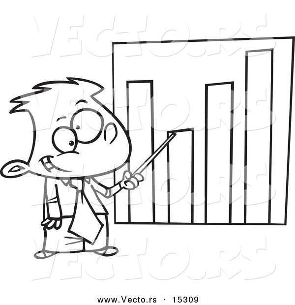 Vector of a Cartoon Businessboy Pointing to a Bar Graph - Coloring Page Outline
