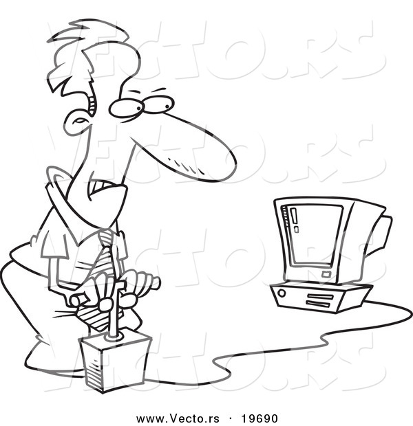 vector of a cartoon businessman blowing up his computer