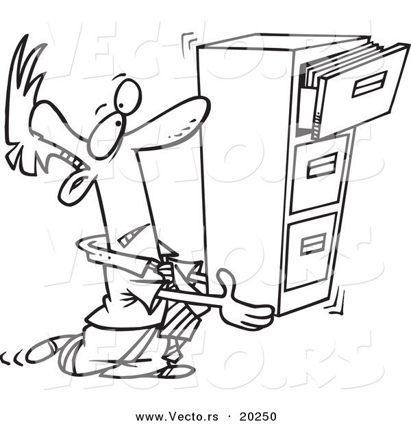 Vector of a Cartoon Businessman Carrying a Filing Cabinet - Outlined Coloring Page