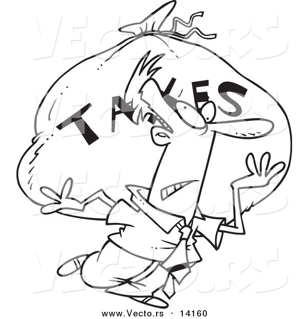 Vector of a Cartoon Businessman Carrying a Huge Bag of Money for Taxes - Coloring Page Outline