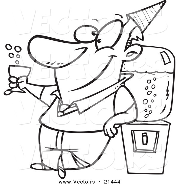 Vector of a Cartoon Businessman Cheering by the Cooler - Outlined Coloring Page