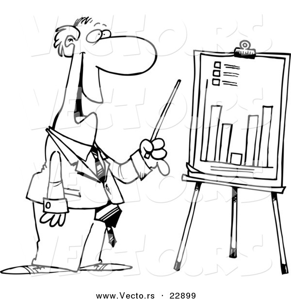 Vector of a Cartoon Businessman Discussing a Bar Graph - Coloring Page Outline