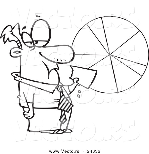 Vector of a Cartoon Businessman Eating a Pie Chart - Outlined Coloring Page