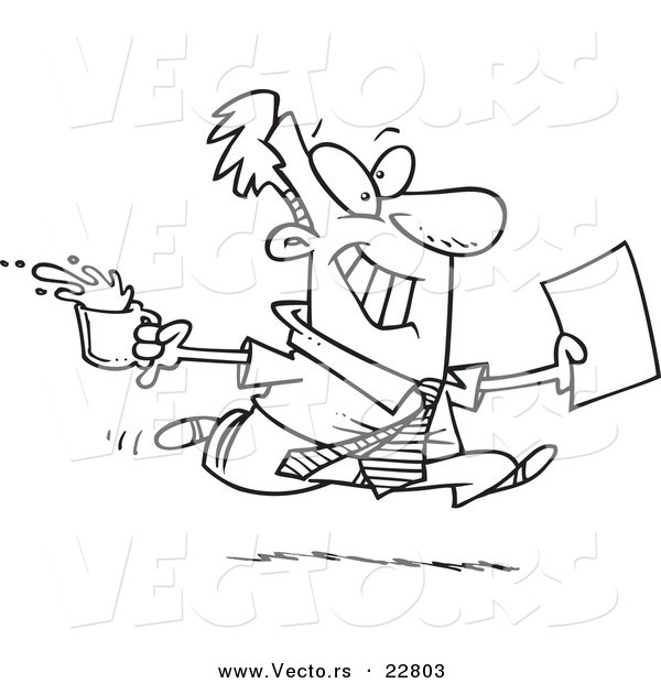 Vector of a Cartoon Businessman Fetching Coffee and Paperwork - Coloring Page Outline