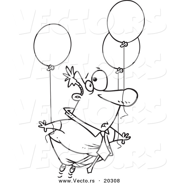 Vector of a Cartoon Businessman Floating Away with Balloons - Coloring Page Outline
