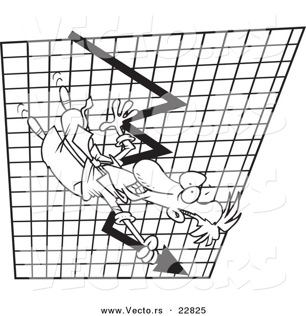 Vector of a Cartoon Businessman Going down on a Plummeting Graph - Coloring Page Outline