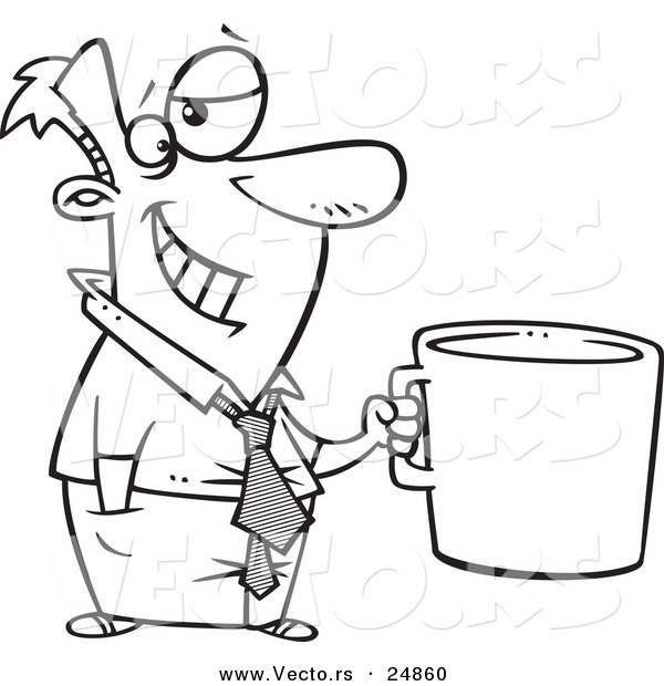 Vector of a Cartoon Businessman Grinning and Holding a Giant Coffee Mug - Outlined Coloring Page