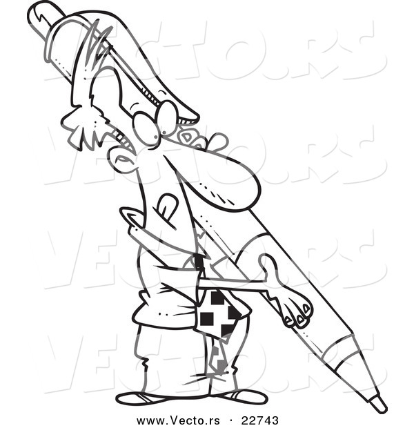 Vector of a Cartoon Businessman Holding a Huge Pen - Coloring Page Outline
