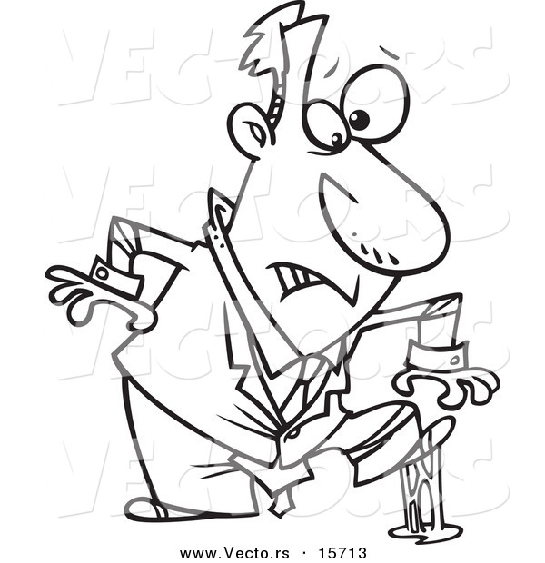 Vector of a Cartoon Businessman in a Sticky Situation - Coloring Page Outline
