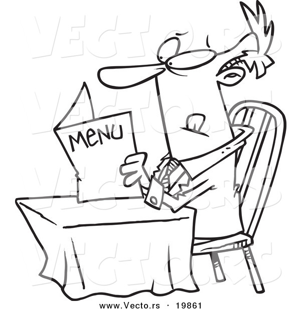 ... of a Cartoon Businessman Reading a Diner Menu - Outlined Coloring Page