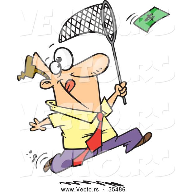 Vector of a Cartoon Businessman Running After Flying Money with a Net