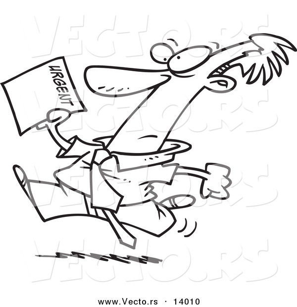 Vector of a Cartoon Businessman Running to Deliver an Urgent Memo - Coloring Page Outline