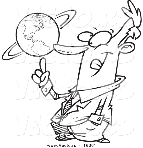 Vector of a Cartoon Businessman Spinning a Globe - Outlined Coloring Page Drawing