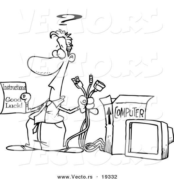 Vector Of A Cartoon Businessman Trying To Assemble Computer Outlined Coloring Page By Ron