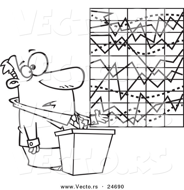 Vector of a Cartoon Businessman Trying to Explain a Messed up Chart - Outlined Coloring Page